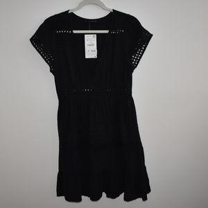 Zara Eyelet Babydoll Dress Size Medium NEW!